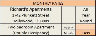 Richard's Apartments Price List