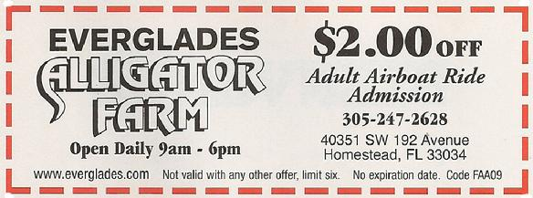 Everglades Aligator Farm Coupon