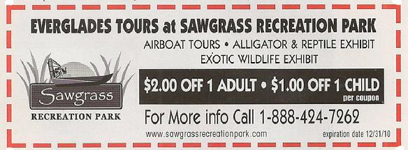 Everglades Aligator Park Coupon