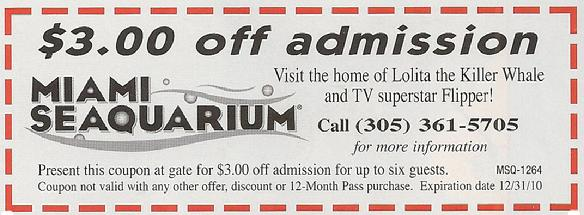 Miami Seaquarium Coupon