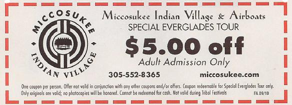 Miccosukee Indian Village Coupon