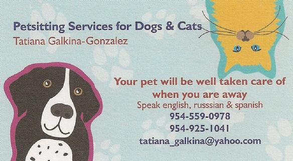Petsitting Services for Dogs & Cats