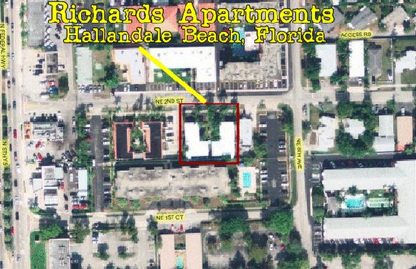 A birds view: Richard's Apartments, 710 NE 2nd Street, Hallandale Beach, Florida