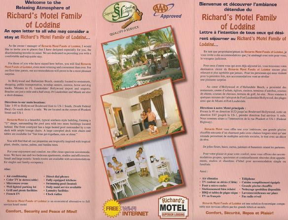 Richard's Motel Flyers Front