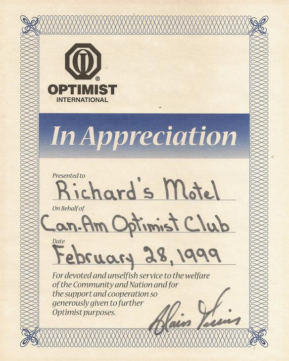 Optimiste club and Richard's Motel