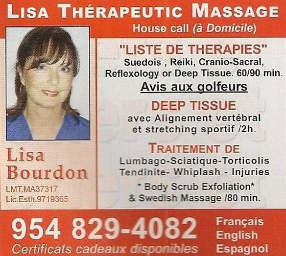 Lisa Bourdon: Therapeutic Massage a domicile.