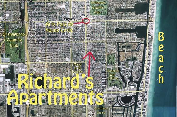 A view from the sky: Richard's Apartments, 1742 Plunkett Street, Hollywood, Florida.