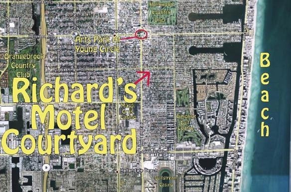 A view from the sky: Richard's Motel Courtyard, Hollywood, Florida.